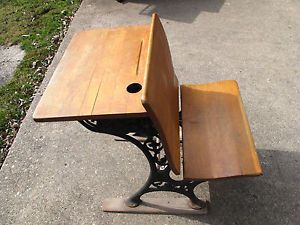 Vintage School Desk Chair Oak or Maple Cast Iron  Roebuck Co Chicago