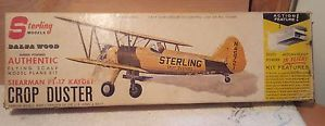 Sterling Balsa Wood Model Airplane Kit Stearman PT 17 Kadet Crop Duster Complete