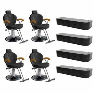 4 Beauty Salon Equipment Hydraulic Reclining Styling Chair Wall Station DP 85