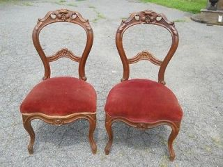 Antique Pair of Hand Carved Civil War Era Chairs Central Virginia
