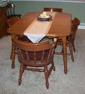 Temple Stuart Rockport Maple Dining Table And 6 Chairs 2 Leaves