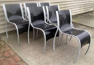 Vintage Set of 6 Kartell FPE Stacking Dining Chairs by Ron Arad Indoor Outdoor