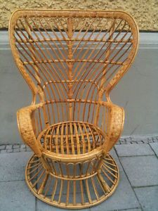 RARE Mid Century High Wingback Wicker Chair Gio Ponti Designed CA 1950 Top