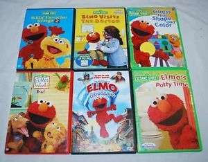 Elmo Sesame Street DVDs Lot of 6 Grouchland Potty Time Pets Visits Doctor Songs