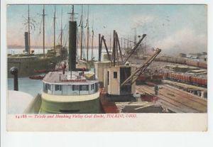 Toledo Hocking Valley Coal Docks Ohio Oh Old Postcard Vintage Bono Postmark
