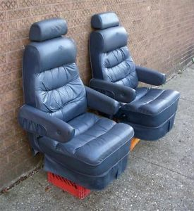 1995 Chevrolet Astro Van Explorer Pair of Used Blue Leather Seats Captain Chairs