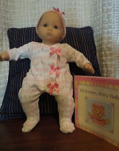 """American Girl Bitty Baby """"Used Doll"""" Wearing A """"New Welcome Sleeper with Book"""""""