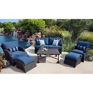 Blue Outdoor Patio Seating Set Sofa Chairs Coffee Table Wicker Pool Furniture