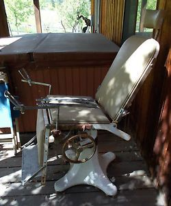 & Antique Dental Chair Vintage Iron Chrome