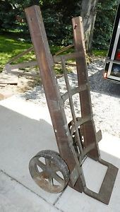 Vintage Antique Cast Iron Hand Cart Truck Dolly Railroad Station Steam Punk