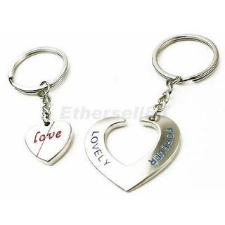 Pair of Forever Love Heart Pendant Round Key Ring Key Chain for Lovers Couples