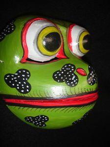 Balinese Drama Frog Dance Mask Topeng Hand Carved Wood Bali Wall Art