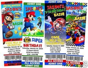 Super Mario Birthday Party Ticket Invitations Favors