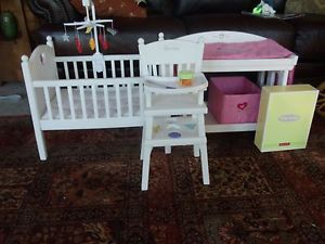 American Girl Bitty Baby High Chair Table and Feeding Set