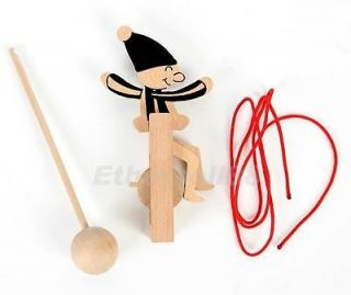 Parallel Balance Wire Walking Little Kid on Unicycle Children's Funny Wooden Toy