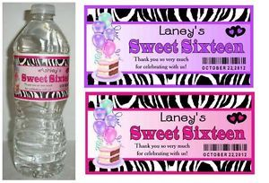 20 Zebra Sweet 16 Sixteen Birthday Party Favors Water Bottle Labels