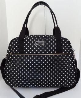 Kate Spade Black Spot Nylon Milla Baby Diaper Bag Tote Travel Duffle $448