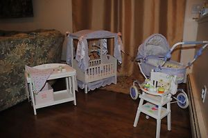 ... RARE American Girl Bitty Baby Canopy Crib High Chair Pram And Changing  Table Lot ...
