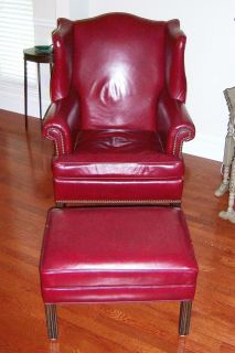 Cool Ethan Allen Wingback Red Leather Chair Ottoman Stool Short Links Chair Design For Home Short Linksinfo