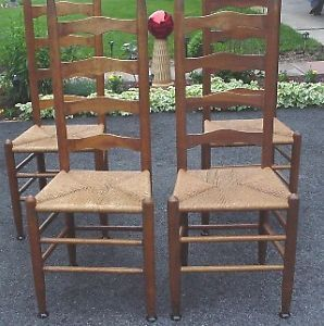 Set Of 4 Maple Ladderback Chairs With Rush Seats Very Good Condition ...