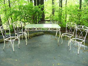 Wrought Iron Patio Table And 4 Chairs antique wrought iron patio set - destroybmx