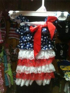 New 4th of July American Flag Baby Girl Toddler Lace Kids 0 5T Romper