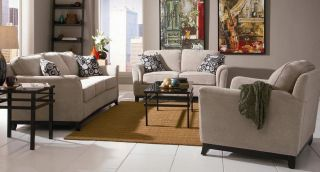 Coaster Carver Chenille Cream Sofa Loveseat Couch Living Room Chair Set 502471