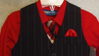 18M Suit Boys Dress Pants Vest Shirt Tie Red Black Pin Stripe Wedding Toddler
