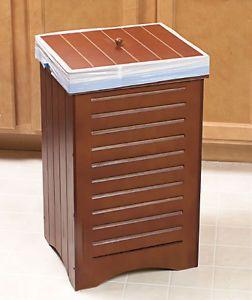30 Gal Furniture Look Maple Wood Kitchen Office Den Trash Bin Garbage Can w Lid
