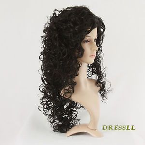 Black Long Wig Curl Curly Explosive Hair Wig Full Costume Party Cosplay Wigs