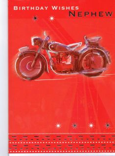 Birthday Wishes Nephew Card Red Motorbike