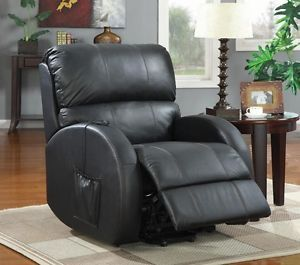 Coaster Furniture Power Lift Recliner Chair Black Leather 600416