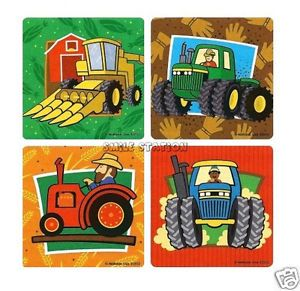 12 Farm Barnyard Tractor Stickers Kids Party Goody Loot Bag Filler Favor Supply