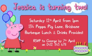 Peppa Pig Birthday Party Invite Invitations Personalised Free Thank You Card