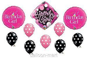 Pink Black Balloons Girls Birthday Party Set Decorations Supplies Polka Dot New