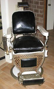 Antique Porcelain Brass Upholstered Barber Chair Theo A Kochs Company Chicago