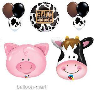 Birthday Farm Pig Cow Balloons Set Party Supplies Western Barn Rodeo Theme Print