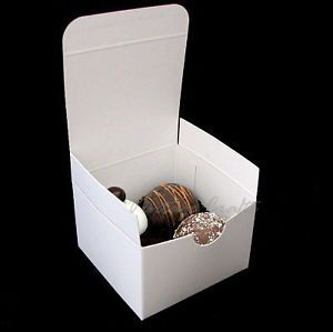 """White Wedding Party Favor Chocolate Candy Gift Boxes 3x3x2"""" 100 Bxs"""