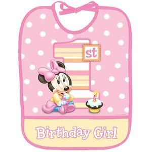 Disney Minnie Mouse 1st Birthday Bib Baby Girl Party Supplies Favors