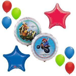 10P Balloons Mario Bros Wii Kart Birthday Party Supplies Decorations Favors Boys
