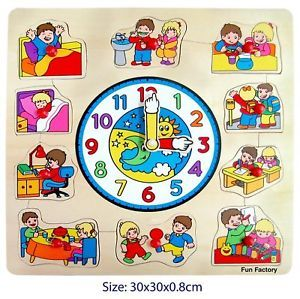 Kids Activities Wooden Clock Puzzle Movable Hands Educational Preschool Toy New
