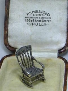 Vintage Solid Sterling Silver Miniature Rocking Chair 4 5gm