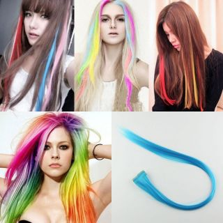 Wholesale Party Solid Coloured Hair Highlights Straight Clip on Hair Extension