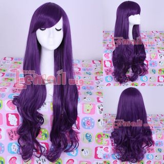 80cm Long Purple Curly Wavy Cosplay Party Women Hair Full Synthetic Wig ML157