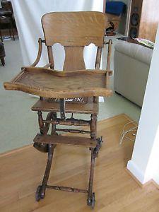 Primitive Antique Victorian Highchair Stroller Rolling Rocking Chair Adjustable