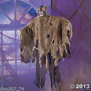 1 halloween haunted house decor prop plastic hanging light up werewolf w sound