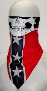 Skull Ghost Biker Half Face Mask Rebel Confederate Flag Southern Costume Bandana