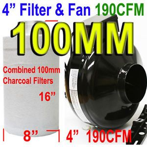 4 in Inline Hydroponics Exhaust Fan Blower XL Carbon Filter Combo Cooling Fan