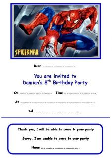 personalised spiderman party invitations x 10