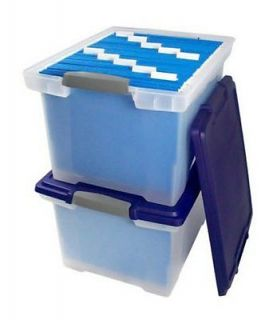 New 2 Pack File Tote with Locking Handles Clear Blue Storage Box Plastic